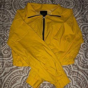 Yellow cropped windbreaker